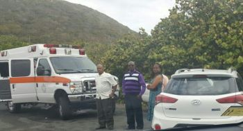 Persons at the scene of the accident at Pockwood Pond today, April 30, 2017. Photo: Team of Reporters