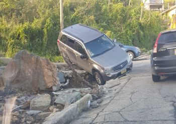 It is unclear how the driver of this vehicle managed to get his vehicle into this situation at the corner of Joe's Hill Road and Paul P. Wattley Road on January 29, 2018. Photo: VINO