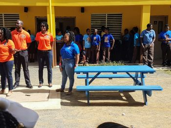 The University of the West Indies (UWI) through its Open Campus Guild of Students (BVI) initiated a community outreach program that saw the Francis Lettsome Primary School receiving a brand new lunch bench. Photo: Provided