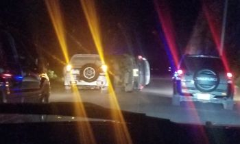 At least three vehicles- 2 SUVs and a pickup, were involved in an accident at Pockwood Pond, sometime around 8:00pm this evening, March 14, 2020. Photo: Team of Reporters