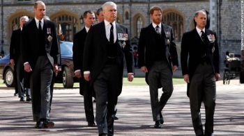 Prince William, Prince Andrew, Prince Harry and Prince Edward walk together before the funeral of Prince Philip. Photo: Getty Images