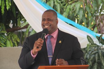 Premier and Minister of Finance, Honourable Andrew A. Fahie (R1) gives remarks at the Groundbreaking Ceremony for the building of the new Carrot Bay Seventh-day Adventist Church on August 16, 2020. Photo: Facebook
