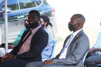 Deputy Premier and Minister for Education, Culture, Youth Affairs, Fisheries and Agriculture, Dr the Hon Natalio D. Wheatley (R7), left, who is also responsible for Ecclesiastical Affairs and Minister for Transportation, Works and Utilities, Hon Kye M. Rymer, right, at the Groundbreaking Ceremony for the building of the new Carrot Bay Seventh-day Adventist Church on August 16, 2020. Photo: Facebook