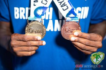 Virgin Islands youth sprinter Jaleel J.N. Croal displays his Gold and Bronze medals won at the 48th Carifta Games. Photo: BVIAA/Facebook