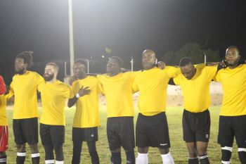 The Jamaica players prior to their game against St Lucia on August 11, 2019. Photo: BVIFA/Facebook