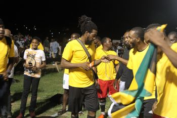 The Jamaicans celebrate their Nation's Cup championship win against St Lucia on August 11, 2019. Photo: BVIFA/Facebook