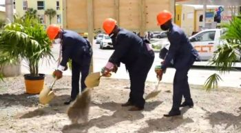 From left: Fourth District Representative Hon Mark H. Vanterpool; Premier and Minister of Finance, Hon Andrew A. Fahie (R1); and Minister for Transportation, Works and Utilities, Hon Kye M. Rymer (R5) break soil for the modernisation of the Road Town Market Square on October 12, 2020. Photo: VINO