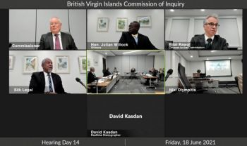 While raising her concerns about the Commission of Inquiry on June 1, 2021, Complaints Commissioner, Mrs Erica R. Smith-Penn was often interrupted with 'cross talking' in an attempt to shut her up by both the Commissioner Sir Gary R. Hicknbottom and CoI Counsel Mr Bilal Rawat. Photo: CoI/Youtube
