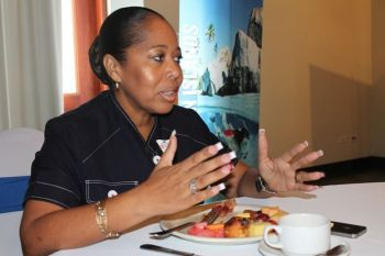 Director of Tourism Mrs Sharon Flax-Mars is confident that the temporary washroom facility put in place at Top of the Baths are still in operation. She could not comment on the status of the construction project. Photo: VINO/File