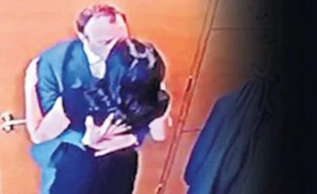 A CCTV image shows Matthew J. D. Hancock, a married man, in a clinch with aide Gina Coladangelo in his central London office. Photo: Yahoo News