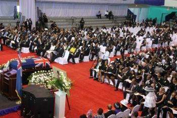 The packed Multi-Purpose Sports Complex on December 11, 2019 for the state funeral of the late first Premier of the Virgin Islands Honourable Ralph T. O'Neal, OBE, Member Emeritus. Photo: VINO