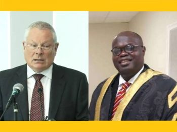 CoI Commissioner, Sir Gary R. Hickinbottom QC, left, on arrival to the Virgin Islands, reportedly attempted to bully the Speaker of the House of Assembly (HoA), Hon Julian Willock, into having a meeting on the work of the Commission, but on the Commissioner's own terms. Photo: Facebook/The Royal Gazette