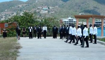 In a short ceremony on Saturday, April 10, 2020, the Virgin Islands (VI) has marked the death of Prince Philip, Duke of Edinburgh with a 21 Gun salute staged by the Royal Virgin Islands Police Force (RVIPF). Photo: GIS/Facebook