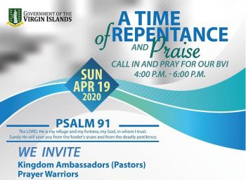 The Government of the Virgin Islands has been holding regular prayers of repentance on radio on Sundays, where the public is able to call in to offer their prayers for the Territory. Photo: Facebook