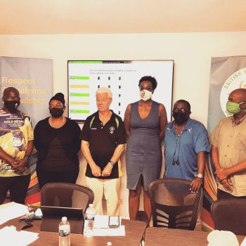 The newly elected BVIOC Board comprises President Ephraim E. Penn, 1st Vice President Sabinah Clement, 2nd Vice President Ralston Henry, Secretary General Lloyd F. Black, Treasurer Mark Chapman, and Member At Large Gloria Fahie. Ashley N. Kelly sits as chair of the BVIOC Athletes' Commission. Photo: BVIOC