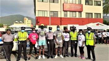 Officers of the Royal Virgin Islands Police Force (RVIPF) also participated in the First Caribbean Walk for Cancer event. Photo: RVIPF