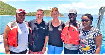 Road Town Community Officer Mitchell John and his colleague Constable Emnisa Edwards also joined a team from Association of Reef Keepers on a turtle tagging exhibition. Photo: RVIPF