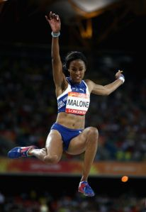 Chantel E. Malone landed a 5th place in the Long Jump final with a leap of 6.48. Photo: Cameron Spencer/Getty Images