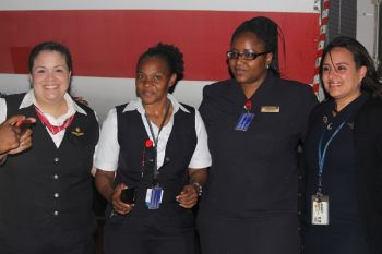 Crew members and staff of American Eagle pose for a photo opportunity. Photo: VINO