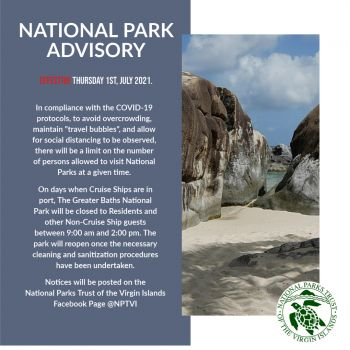 According to an advisory from NPTVI on June 30, 2021, effective Thursday, July 1, 2021, in compliance with COVID-19 protocols, to avoid overcrowding, maintain 'travel bubbles', and allow for social distancing to be observed, there will be a limit on the number of persons allowed to visit National Parks at a given time. Photo: NPTVI