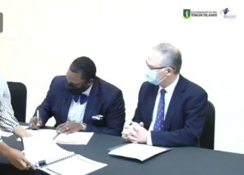 Governor John J. Rankin, CMG (right) and Deputy Governor David D. Archer Jr at the contract signing ceremony today, February 16, 2021. Photo: Facebook