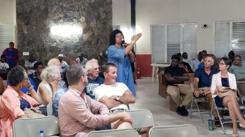 A resident of Virgin Gorda gives feedback at the Town Hall Meeting called by Minister for Natural Resources, Labour and Immigration, Hon Vincent O. Wheatley (R9) at the Catholic Community Centre in Virgin Gorda on January 23, 2020. Photo: VINO