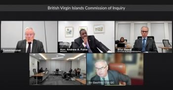 Premier and Minister of Finance Hon Andrew A. Fahie (R1) appeared as a witness on Hearing Day 46 of the CoI on October 11, 2021, when he raised concerns about the terms of reference of the CoI. Photo: YouTube