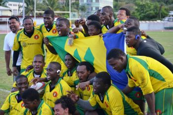 SVG celebrated like a cup final, but it's only the first match of three in group play, with games against St Lucia and Curacao to come. Photo: Charlie E. Jackson/VINO