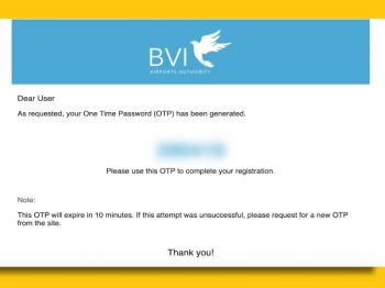 On registering for the service, potential travellers are emailed a one-time password (OTP), which expires in 10 minutes and allows access to the application for the required details. Photo: Internet Source