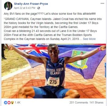 Shelly-Ann Fraser-Pryce, the 2-time Olympic Gold Medallist, acknowledged the feat of Jaleel J.N. Croal on her Facebook page on April 22, 2019. Photo: Facebook