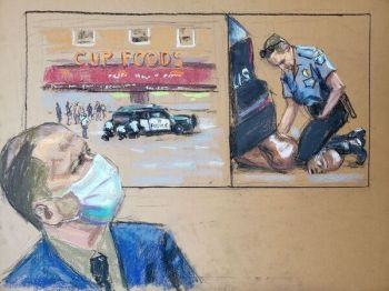 A courtroom sketch showing Derek M. Chauvin watching video footage of George P. Floyd's death. Photo: Jane Rosenberg/Reuters