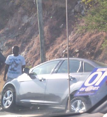 The second vehicle that was involved in yesterday's accident on Virgin Gorda. Photo: Team of Reporters