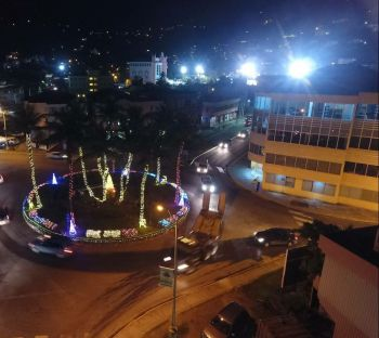 An aerial view of the Christmas tree and lights installed by the Rotary Club of Road Town at the Road Town Roundabout. Photo: Mahde Said