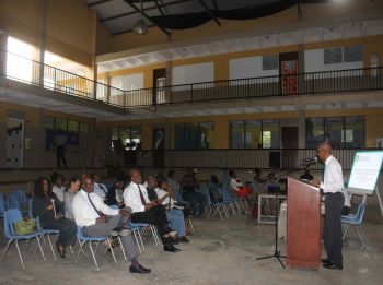 Fifth District public consultation meeting held at Althea Scatliffe Primary School on Monday, February 5, 2018. Photo: VINO