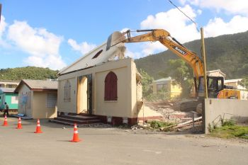 The old Carrot Bay Seventh-day Adventist Church became unsafe for use after the hurricanes of September 2017 and it was demolished in December 2019. Photo: VINO