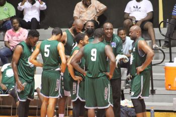 VG Bayside Blazers, seen here taking game strategy from coach Trevor Stevens aka 'West' in a previous game, are unbeaten in 8 games in the National District League. Photo: VINO/File