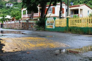 A speed bump in the vicinity of the Ivan Dawson Primary School in Cane Garden Bay. Photo: VINO