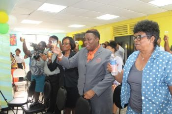 Women's advocate Gloria Fahie (2nd from right) and Cabinet Secretary Sandra Ward (3rd from right) were among the many women well wishers of Jacqueline E. Vanterpool. Photo: VINO
