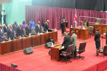 It was during yesterday's April 18, 20 sitting of the House when the Speaker, seen by many as biased in favour of the National Democratic Party, sought to caution the Leader of the Opposition. Photo: VINO/File