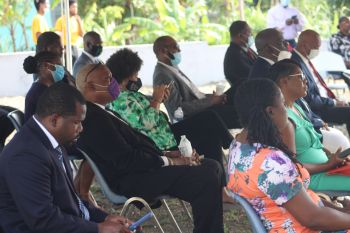 Some of the persons in attendance at the Groundbreaking Ceremony for the building of the new Carrot Bay Seventh-day Adventist Church on August 16, 2020. Photo: Facebook