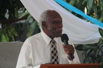 Senior church member and Carrot Bay resident, Mr Arundell Donovan gave a brief history of Adventism in the Virgin Islands and the building of the church in Carrot Bay. Photo: Facebook