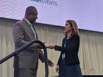 Mr Leroy A. E. Abraham as he accepts his award at CREF 2018. Photo: Provided