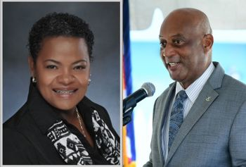 Director of the National Parks Trust of the Virgin Islands (NPTVI) Dr Cassander P. Titley– O'Neal, left, has disclosed that the restrictions to The Baths to accommodate cruise ship guests have been lifted on the request of the Ministry of Natural Resources, Labour and Immigration. Minister Vincent O. Wheatley (R9), right, suggested that the decision there should have never been a restriction in place since the request was already rejected by Cabinet. Photo: GIS/VINO/File