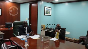 Speaker of the House of Assembly Honourable Hon Julian Willock, left, and Deputy Speaker and Territorial Member Honourable Neville A. Smith at the virtual meeting. Photo: GIS