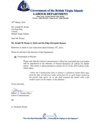 The letter written to Joseph Mathieu Rosan by the Labour Department. Photo: Provided
