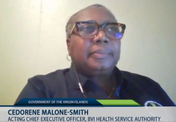 Mrs Cederene Malone-Smith made the announcement on hospitalisation during a COVID-19 webcast, last evening yesterday, July 23, 2021, on the Facebook page of the Government Information Service (GIS). Photo: Facebook