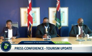 Hon Fahie made the statement during a Press Conference on the local Tourism Update this afternoon, October 8, 2021 alongside Junior Minister For Tourism, Honourable Sharie B. de Castro (AL) and Tourism Director Mr Clive McCoy, on the impacts of the pandemic on the people of the Virgin Islands and the way forward for the sector. Photo: GIS/Facebook