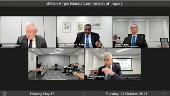 Premier Fahie's statement and questions came as he appeared before the UK-funded VI Commission of Inquiry (CoI), while in discussion with Commissioner, Sir Gary R. Hickinbottom during hearing Day 47, today, October 12, 2021. Photo: CoI/Facebook