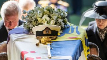 The Duke of Edinburgh's sword and navy cap on top of the coffin. Photo: AP