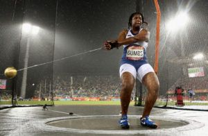 Tynelle Gumbs hurled the disc 47.04 to place 9th while in Hammer Throw, she placed 7th overall and attained a Seasonal and Personal Best as well as beating her previous National Record with a distance of 60.97. Photo: Ryan Pierse/Getty Images